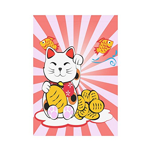 InterestPrint Japanese Lucky Cat with Gold Fish Polyester Garden Flag Outdoor Banner 28 x 40 inch, Meneki Neko Decorative Large House Flags for Party Yard Home Decor