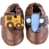 Robeez Soft Soles Planes and Trains Slip On (Infant/Toddler),Brown,0-6 Months...