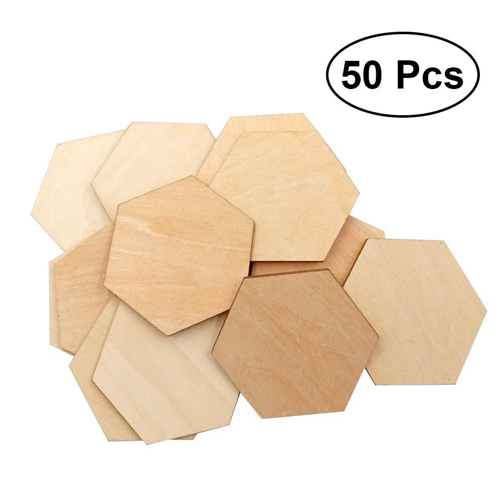 Healifty Bois tranches hexagone pour DIY Artisanat décoration DE 50Films DE 60mm
