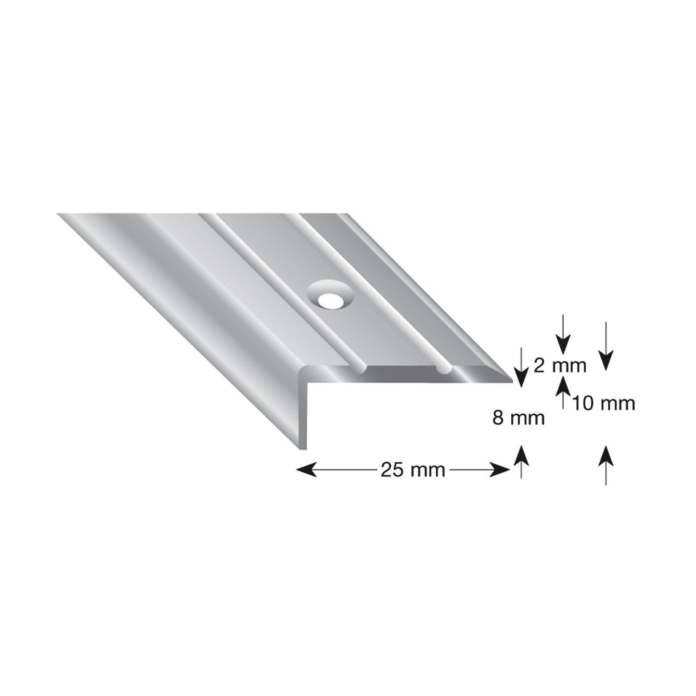 kü gele Escaleras á ngulo de aluminio anodizado en plata, perforadas, 25/10/1000 mm, 1 pieza, 105B S 100 25/10/1000mm 1pieza Kügele