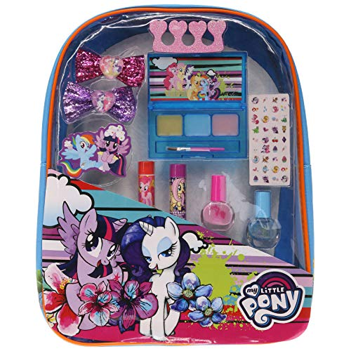 Backpack Cosmetic Set, Includes: Lip Gloss Compact, Hair Bows, Nail Polish, Nail File, Lip Balm, Toe Spacer, Nail Stickers (My Little Pony) -