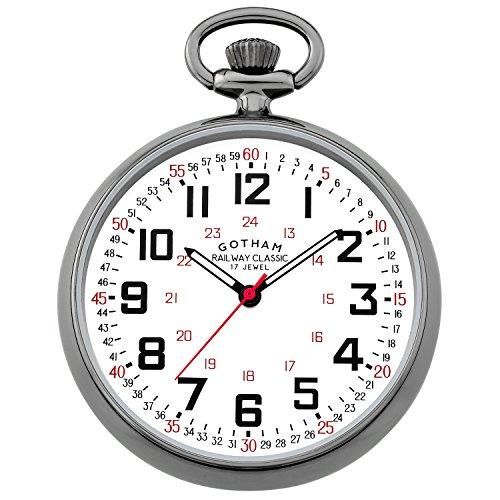 Gotham Men's Gun-Tone Mechanical Hand Wind Railroad Pocket Watch # GWC14100B