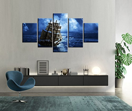5 Piece Extra Large canvas Sailboat Sailing in Navy Blue Backgroud Painting Boat Artwork Modern Wall Art,HD Prints Ship Pictures Artwork for Living Room Home Decor Wooden Framed Stretched(60''Wx40''H)]()