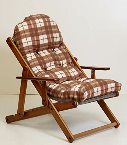 Amazonde Sessel Liegestuhl Relax Aus Holz Klappbar Luxus Kissen Super Gepolsterte H 100 Cm Wohnzimmer Kche Lounge Sofa Verstellbar 3 Positionen