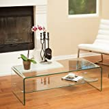 Cheap Christopher Knight Home Ramona Aluminum Glass Coffee Table with Shelf and Metal Locks Easy to Assemble