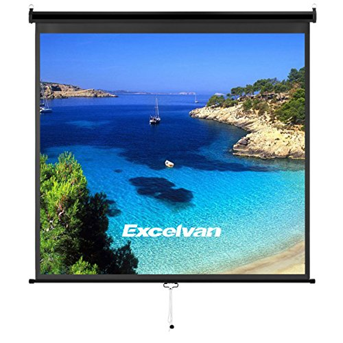 Excelvan Manual Projector Screen With Auto Locking Device, Premium PVC Matte Indoor Outdoor Movie Wrinkle-Free Projection Screen for HDTV Sports Wedding Party Presentations (70