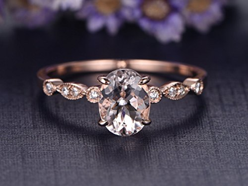 6x8mm Oval Cut Pink Morganite Engagement Ring SI I-J Diamond Wedding Band 14k Rose Gold,Milgrain Bridal Ring,Promise Set,Claw Prong ()