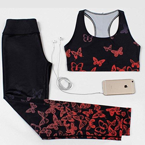 HJMTRY Vêtements de yoga élastique imprimé femmes collants Gilet 2 pc pour Gym Yoga Pilates Dance Costume , XL