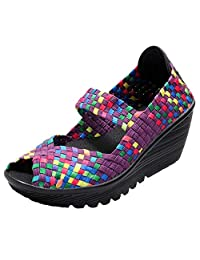ICEGREY Womens Woven Wedge Platform Sandals Summer Peep Toe Mary Jane Sandals Shoes