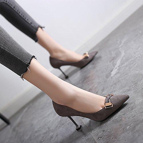 Jqdyl Jqdyl Jqdyl High Heels New Fine mit spitzen Absätzen Schnürung Schuhe Wild Gray 8cm 5838c8