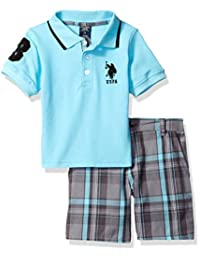 U.S. Polo Assn.... Boys Little Boys Embellished Pique Polo Shirt Plaid Short
