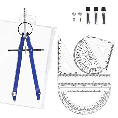 Gimars 6pcs Compass Set with Lock, Divider Set with Protractor, Rulers, Set Squares, for School, Geometry, Math, Drafting, Drawing, Woodworking, Student, Teacher, Artist, Architect, Engineer