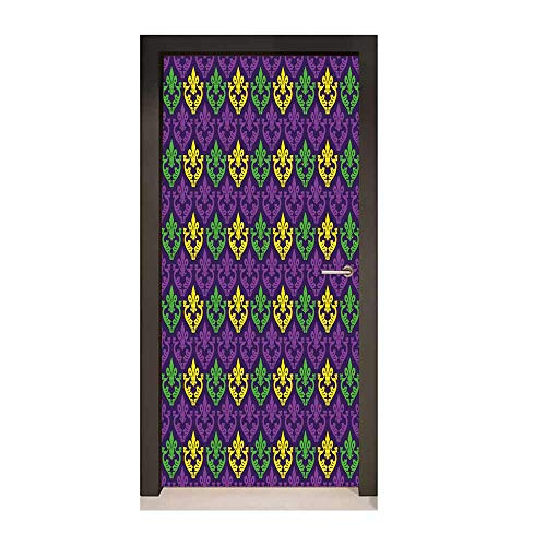 Mardi Gras Decor Door Mural Antique Old Fashioned Motifs in Mardi Gras Holiday Colors Tile Pattern for Bedroom Decoration Purple Green Yellow,W17.1xH78.7]()