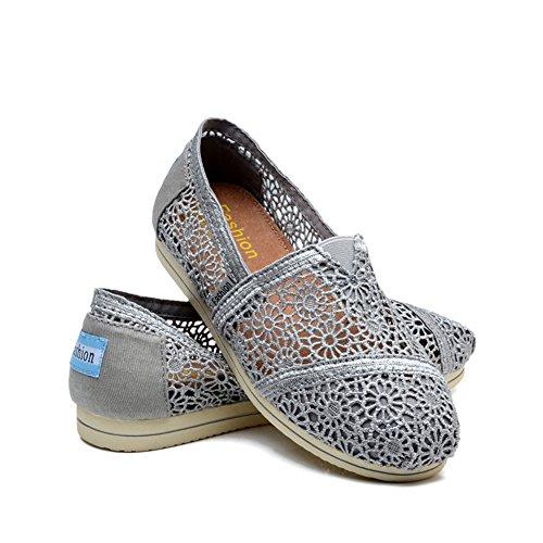 Tiosebon Zapatillas Mujer Slip On Sneaker Canvas Flat 5918 Gris