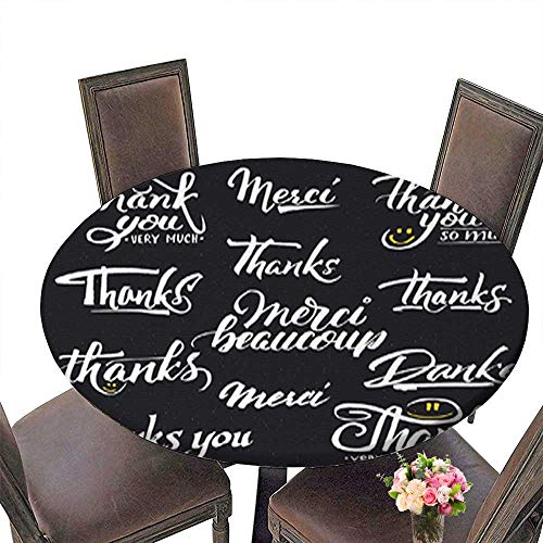 Fitted Polyester Round Tablecloth,Thank You Merci Beaucoup Danke- Typographic calligraphic Lettering Washable for Tablecloth up to 31.5