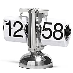 Betus [Retro Style] Flip Desk Shelf Clock - Classic Mechanical-Digital Display Battery Powered - Home & Office Décor 8 x 6.5 x 3 Inches (White)
