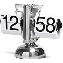Betus Retro Style Flip Desk Shelf Clock - Classic Mechanical-Digital Display Battery Powered - Home & Office Décor 8 x 6.5 x 3 Inches (White)