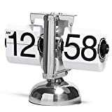 Betus [Retro Style Flip Desk Shelf Clock - Classic Mechanical-Digital Display Battery Powered - Home & Office Décor 8 x 6.5 x 3 Inches (White)