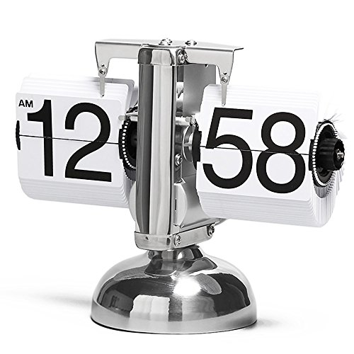 Style House Numbers (Betus Retro Style Flip Desk Shelf Clock - Classic Mechanical-Digital Display Battery Powered - Home & Office Décor 8 x 6.5 x 3 Inches (White))