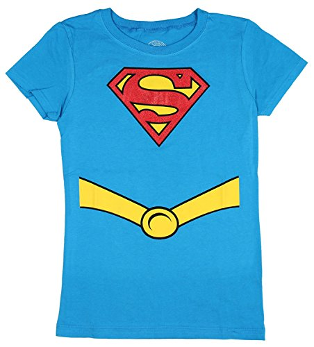 (Superman Supergirl Youth Girls Costume Tee Shirt, Blue, L)