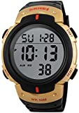 PASOY Men Women Digital Watch Big Dial Light LED Swim Waterproof Rubber Band Alarm Black LED Watches 50MM