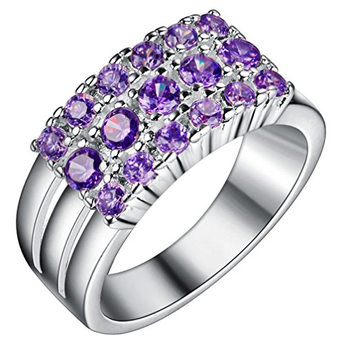 FENDINA Womens Silver Plated Manmade Gorgeous Triple Row Amethyst CZ Promise Engagement Wedding Ring for Bridal Eternity Anniversary Cocktail Band Ring