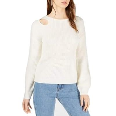 Bar Iii Balloon-Sleeve Cutout Sweater White Size XXL at Women's Clothing store