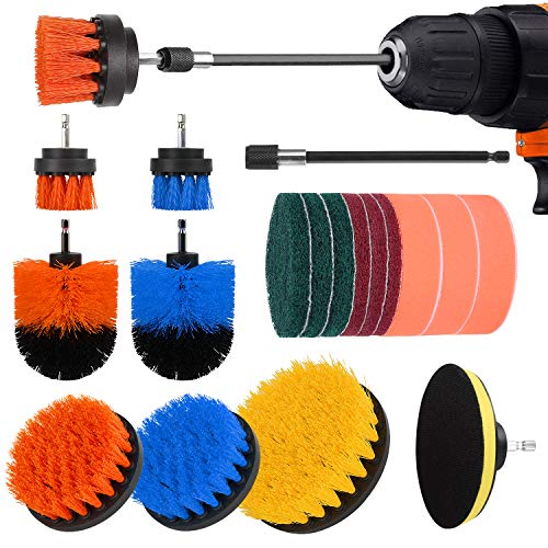 Drill Brush Attachment Set – 19 Piece Shower Cleaning Brush, Power Scrubber Brush Cleaning Kit for Kitchen and Bathroom…