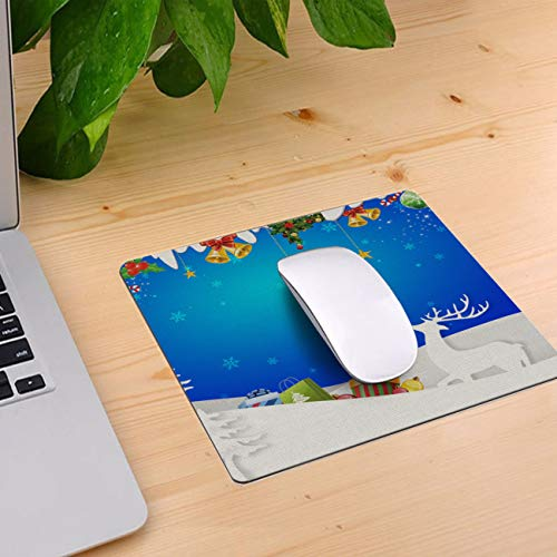Computer Mouse Pad Custom, Xmas Themed Decoration Deer Presents and Bell Mouse Mat Non-Slip Rubber Base and Jersey Surface Gaming Mouse Pad for Laptop/Desktop/Office/Home 10 x 9 inch ()