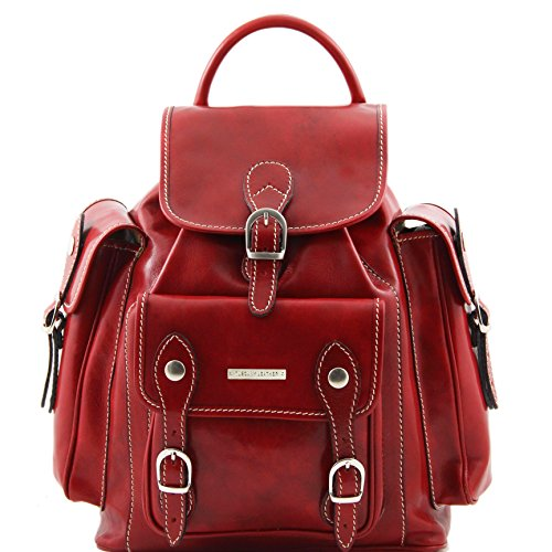 Tuscany Leather Pechino Leather Backpack Red by Tuscany Leather