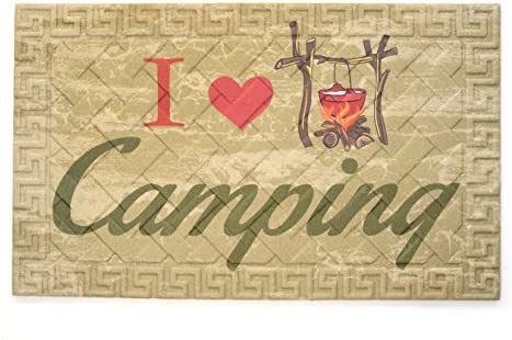 Stephan Roberts Recycled Rubber Door Mat 18 x 30 , I Love Camping