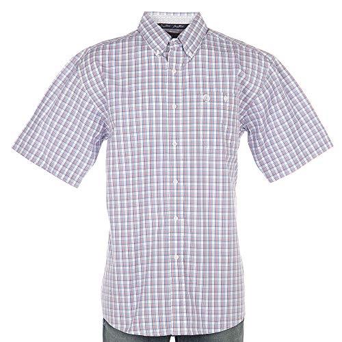 - Wrangler Apparel Mens George Strait White Orange and Small Plaid Shirt L Blue