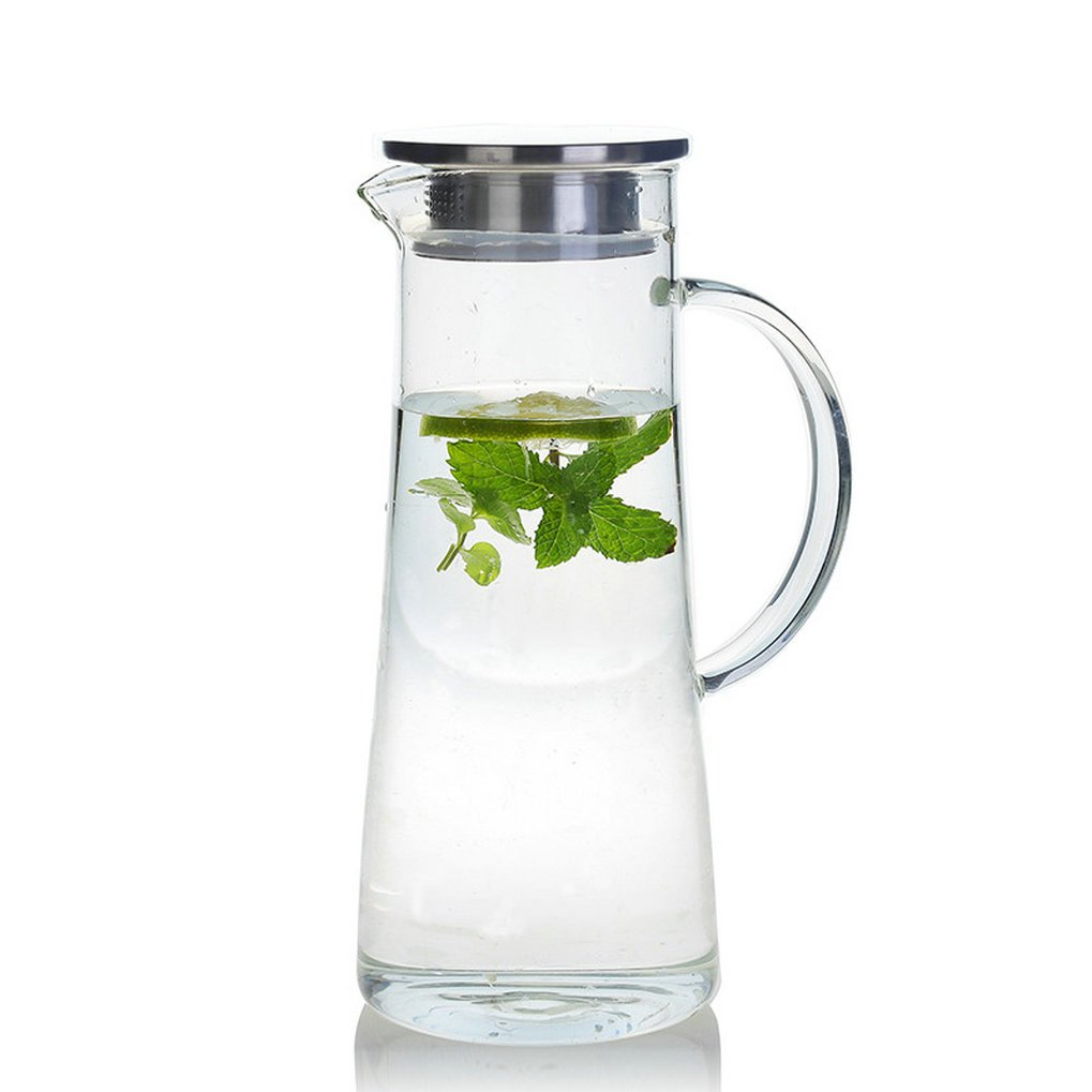 GuDoQi 1.4L Water Carafe Tea Pitcher Hot/Cold Water Jug with Lid Borosilicate Glass for Juice Tea Beverage QBY