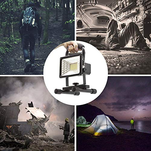 [15W 24LED] Rechargeable Work Lights, Lanfu Outdoors Camping Emergency Lights with SOS Mode, Portable Floodlights with Built-in Lithium Batteries and 2 USB Ports to Charge Digital Devices (Black) by JINCAN (Image #5)