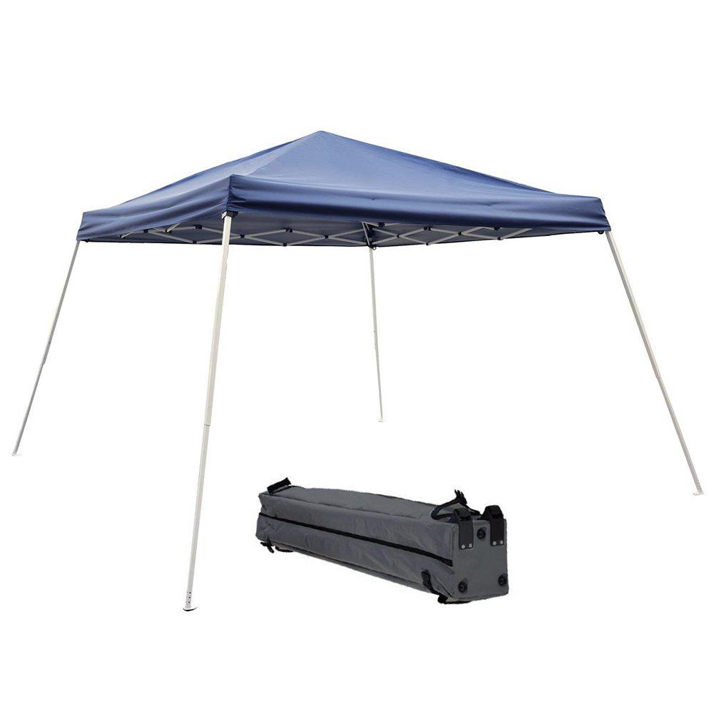 Abba Patio Pop Up Canopy 12 x 12-Feet Slant Leg Instant Folding Canopy with Carry Bag, Dark Blue