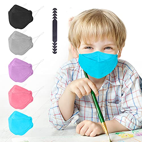 KF94 Face Mask Individual Packed, Disposable Colored Mask for Boys Girls, 4 ply Filtered Form Fitting Folded Protective Mask for Easy Breath Talk, Adjustable Nose Wire Mask Snug Fit Non Fog - 20 Packs