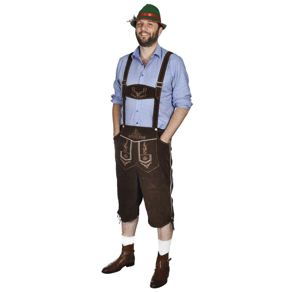 vidaXL Trachten Lederhosen Hose Trachtenset Trachtenlederhose Träger mit Hut L/XL/XXL