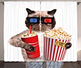 Ambesonne Movie Theater Decor Curtains, Cat with Popcorn and Drink Watching Movie Glasses Entertainment Cinema, Living Room Bedroom Window Drapes 2 Panel Set, 108 W X 63 L Inches, Multicolor