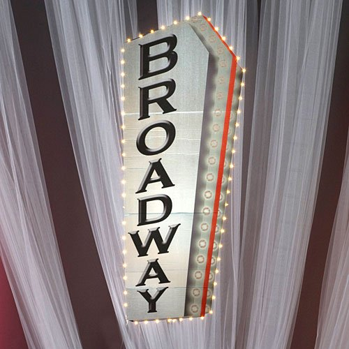 Broadway Sign Standup Photo Booth Prop Background Backdrop Party Decoration Decor Scene Setter Cardboard -