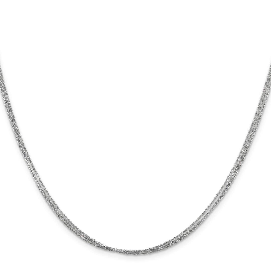 ICE CARATS 14k White Gold .75 Mm Triple Strand Ropa Chain Necklace 16 Inch Rope Str Fine Jewelry Ideal Mothers Day Gifts For Mom Women Gift Set From Heart