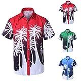 Allywit-Mens Hawaiian Shirt,M-4XL Print Short T-Shirt Sports Beach Quick Dry Blouse Top Blouse