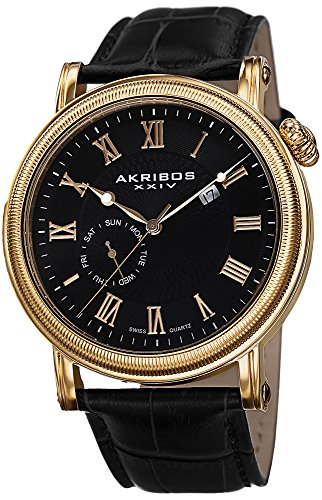 Akribos XXIV Men's AK673BKG Swiss Quartz Movement Watch with Black Dial and Coin Edged Bezel with Genuine Leather ()