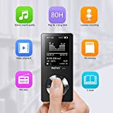 Simply Silver - MP3 Music Player - 8GB Hi-Fi MP3 Music Player Lossless Sound LCD Screen Portable Support up 128GB (Black)