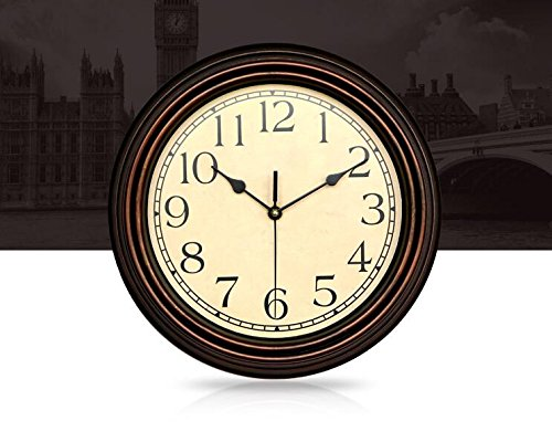 Bekith-12-Inch-Round-Classic-Clock-Retro-Non-Ticking-Quartz-Decorative-Wall-Clock