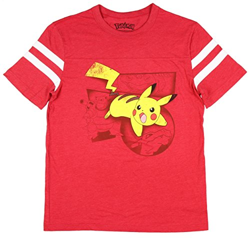 Pokemon Pikachu Battle Stance! Distressed Graphics Men's T-Shirt (Red, Medium)