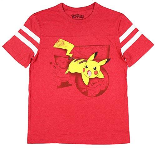 Pikachu Pokemon Battle Stance! Distressed Graphics Men's T-Shirt (red, -