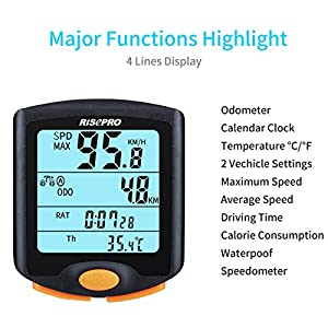 Bike Computer, RISEPRO Wireless Bicycle Speedometer Bike Odometer Cycling Multi Function Waterproof 4 Line Display with Backlight YT-813