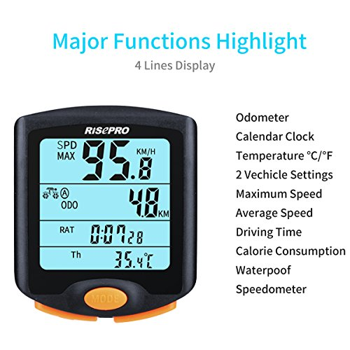 RISEPRO Bike Computer, Wireless Bicycle Speedometer Bike Odometer Cycling Multi Function Waterproof 4 Line Display with Backlight YT-813 by RISEPRO (Image #2)
