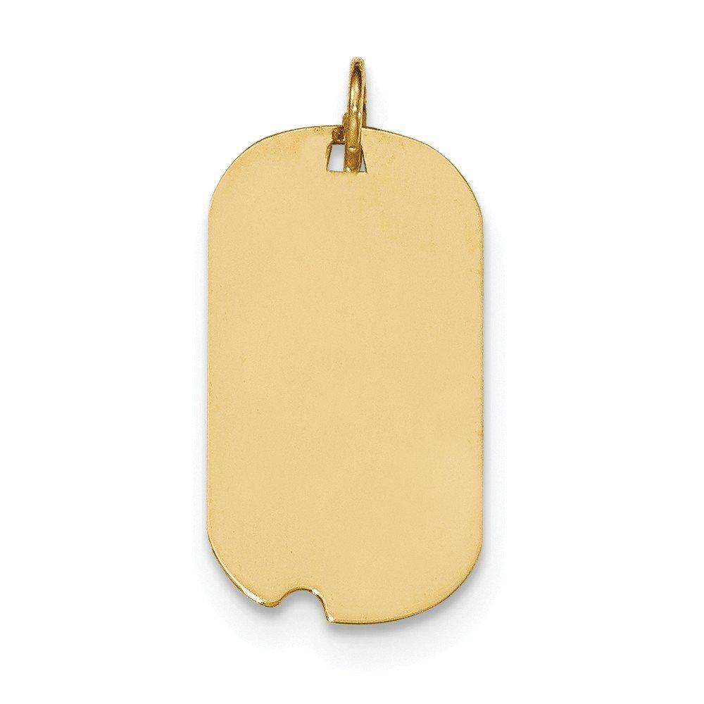 14k Yellow Gold Plain .018 Gauge Engraveable Dog Tag w//Notch Disc Charm
