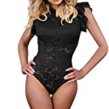 Ximandi Women's Sexy Floral Lace Flare Sleeveless Casual Party Bodycon Slim Jumpsuit Bodysuits Black